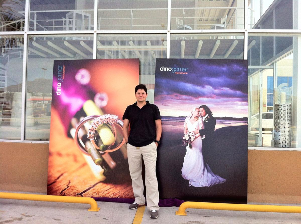 Large wedding photo prints with photographer Dino Gomez