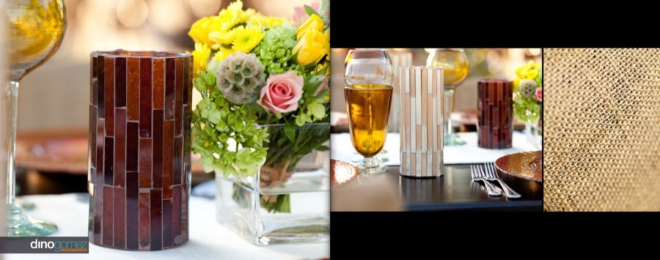 Table setting with colourful flowers and vase