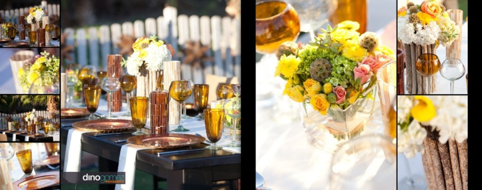 Colourful table decor featuring vase with flowers and wine glasses