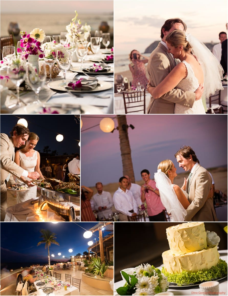 Intimate beachside wedding reception with the cute wedding couple and the reception setup