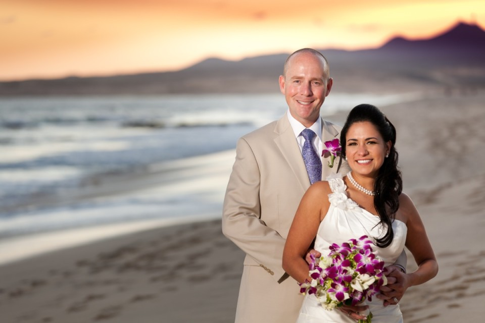 Portrait of bride and groom on the beach in Mexico