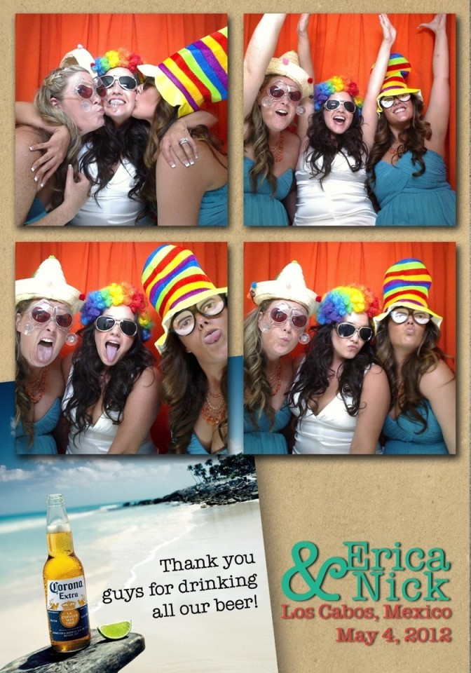 Humourous wedding photo booth collage with female guests