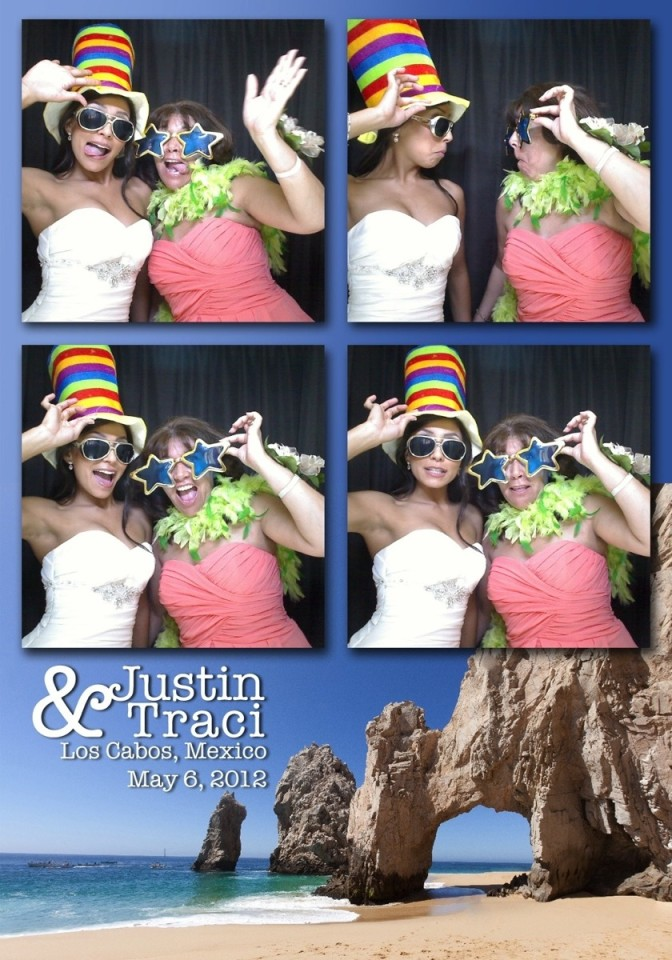 Snap shots of the bride and her bridesmaid making fun faces in a photo booth in Mexico