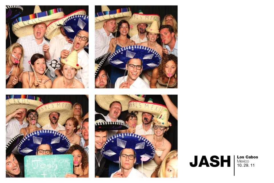 A collection of fun photo booth pictures with props including sombreros and moustaches