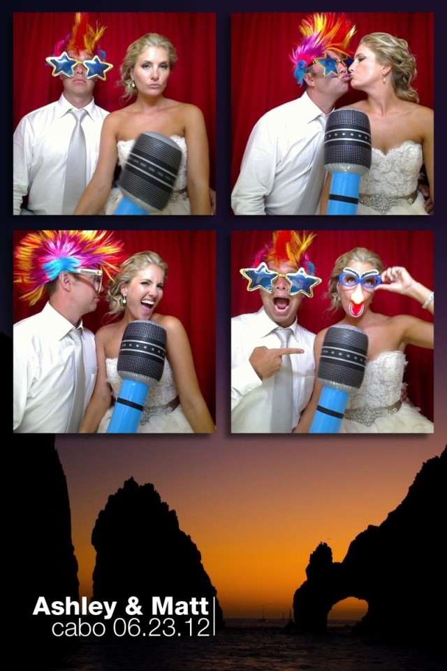 Fun photographs taken at Cabo of a bride and groom in a photo booth provided by photographer Dino Gomez