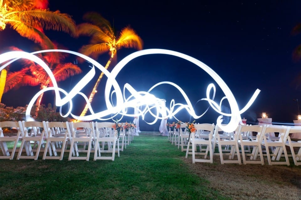 Lighting at an outdoor wedding ceremony setup in Mexico