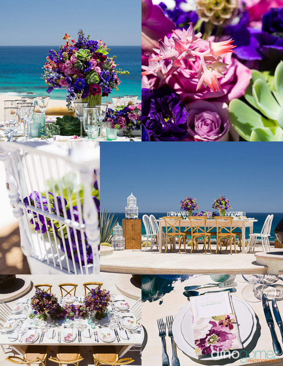 A destination Wedding inspiration board showing exquisite table settings in a beautiful mexican destination