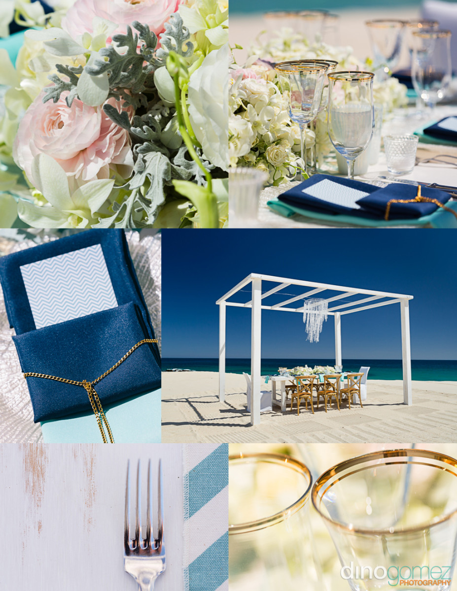Destination Wedding on a beautiful beach. An inspiration board showing stunning elements of a wedding table setting