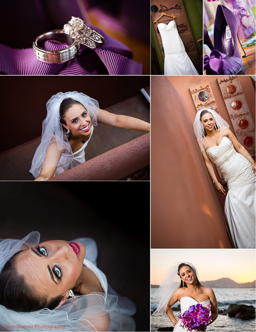 A stunning collection of photographs depicting a beautiful bride on her wedding day.