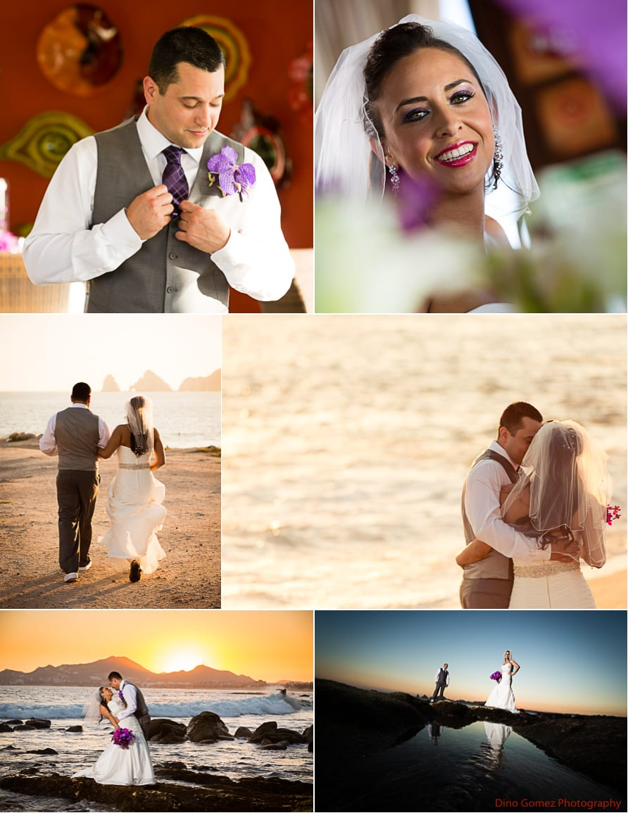 Different angles of the wedding couple on their big day at sunset