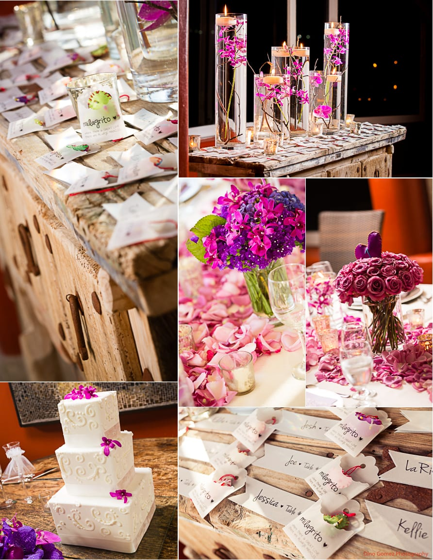 Wedding board with name tags and the floral arrangements along with a gorgeous wedding cake