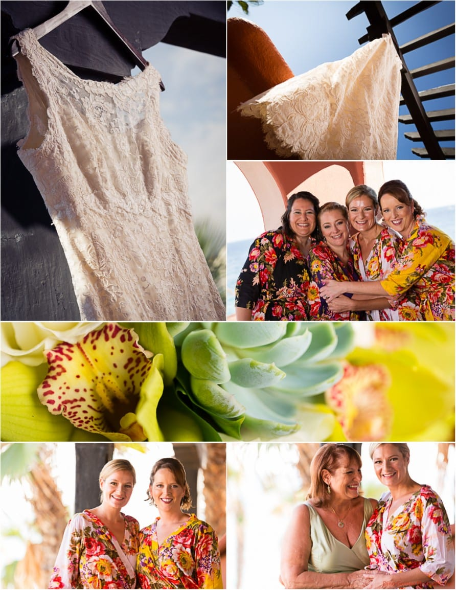 Wedding inspiration board with the bride and her bridesmaids floral