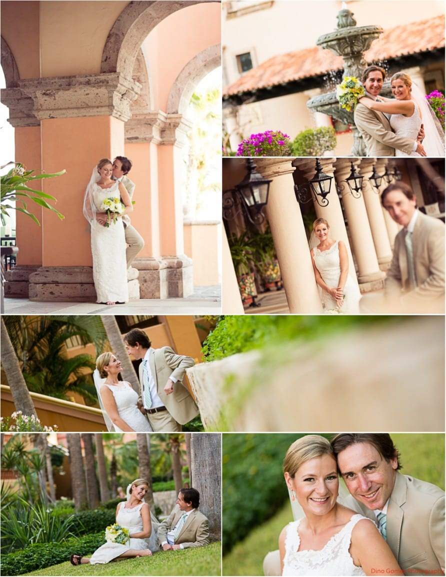 Wedding board with shots of the gorgeous couple posing together in Mexico by photographer Dino Gomez