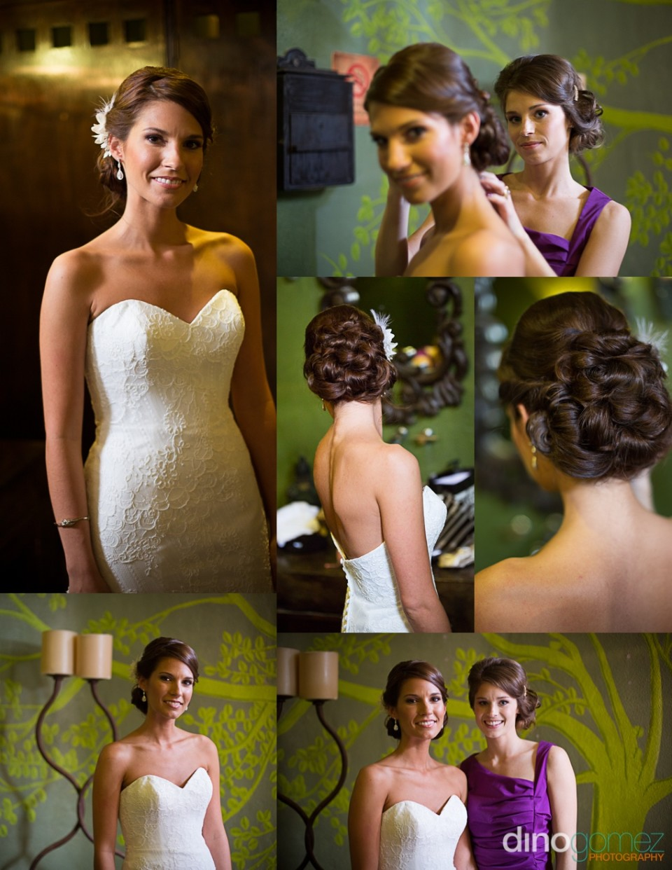 Snapshots of the cute bride and her maid of honour in a purple dress with a greenish background in Mexico