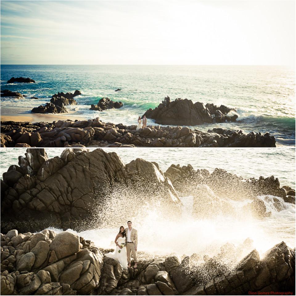 Couple snapped by Dino Gomez enjoying the sea spray on the beach