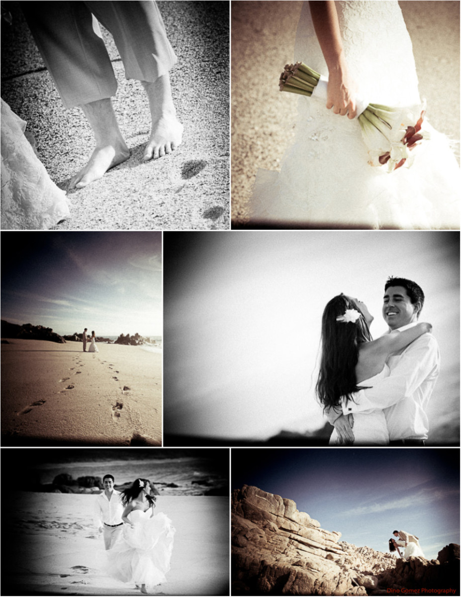 A couple enjoying their destination wedding by playing together on a beach.