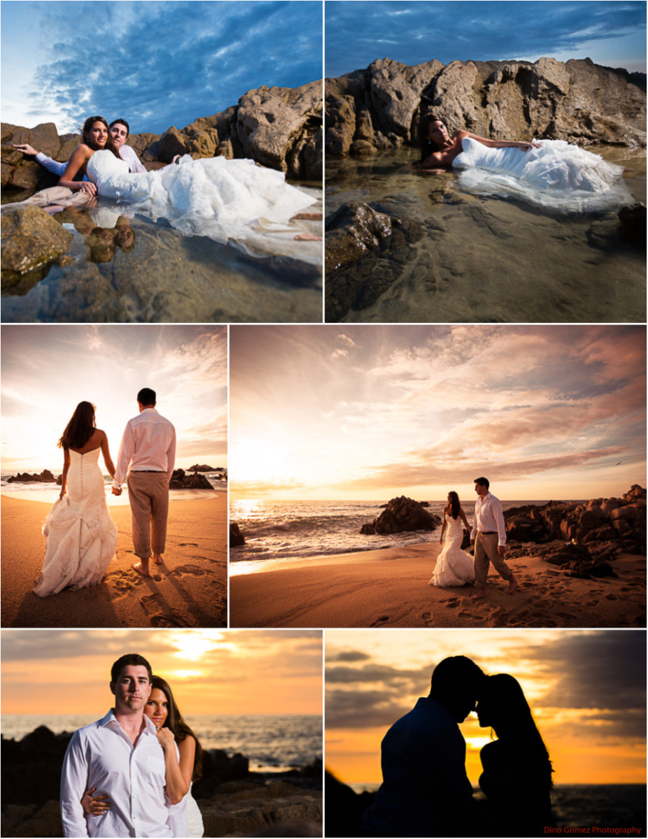 Dino Gomez has captured a stunning series of photographs showing a beautiful bride and her groom at sunset on a beach.