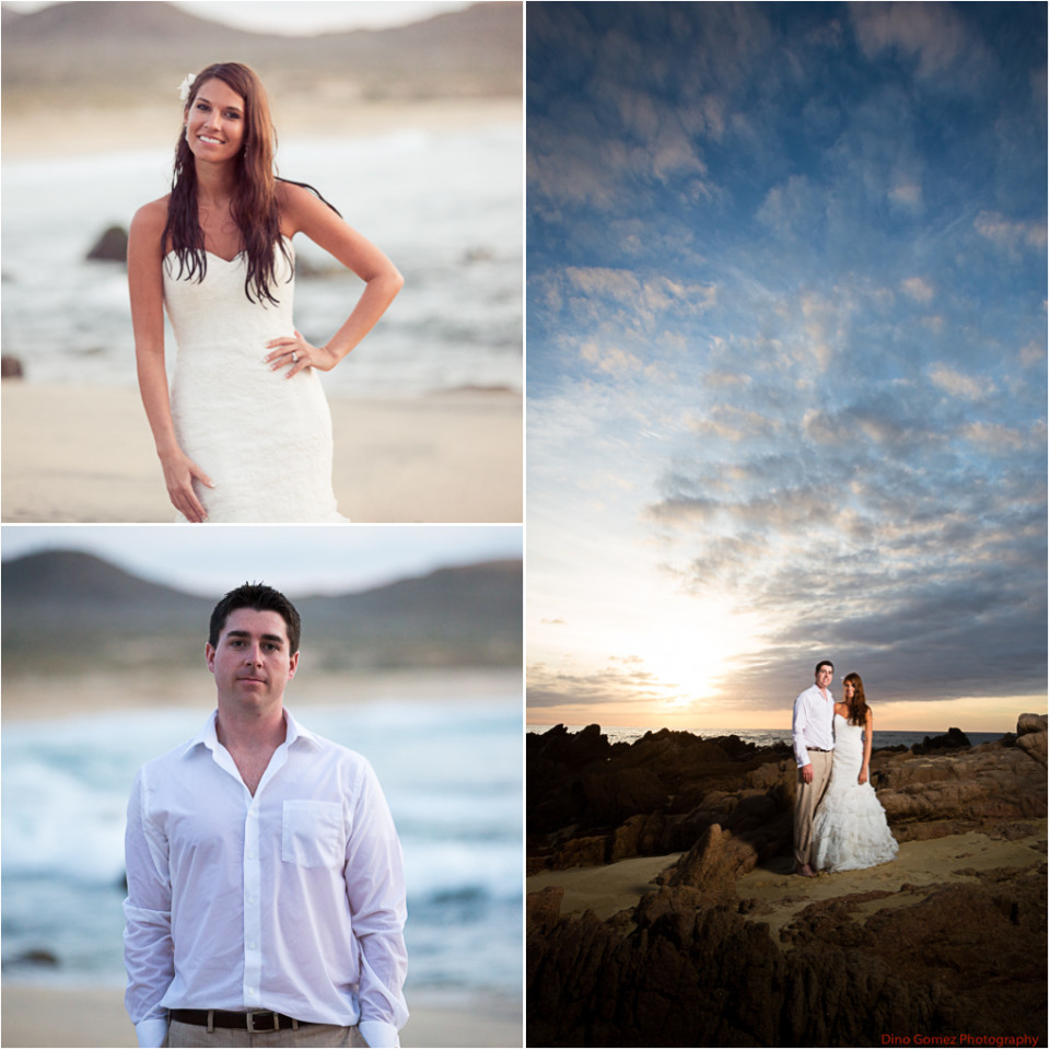 Individual portraits of a bride and groom on a beach by Dino Gomez