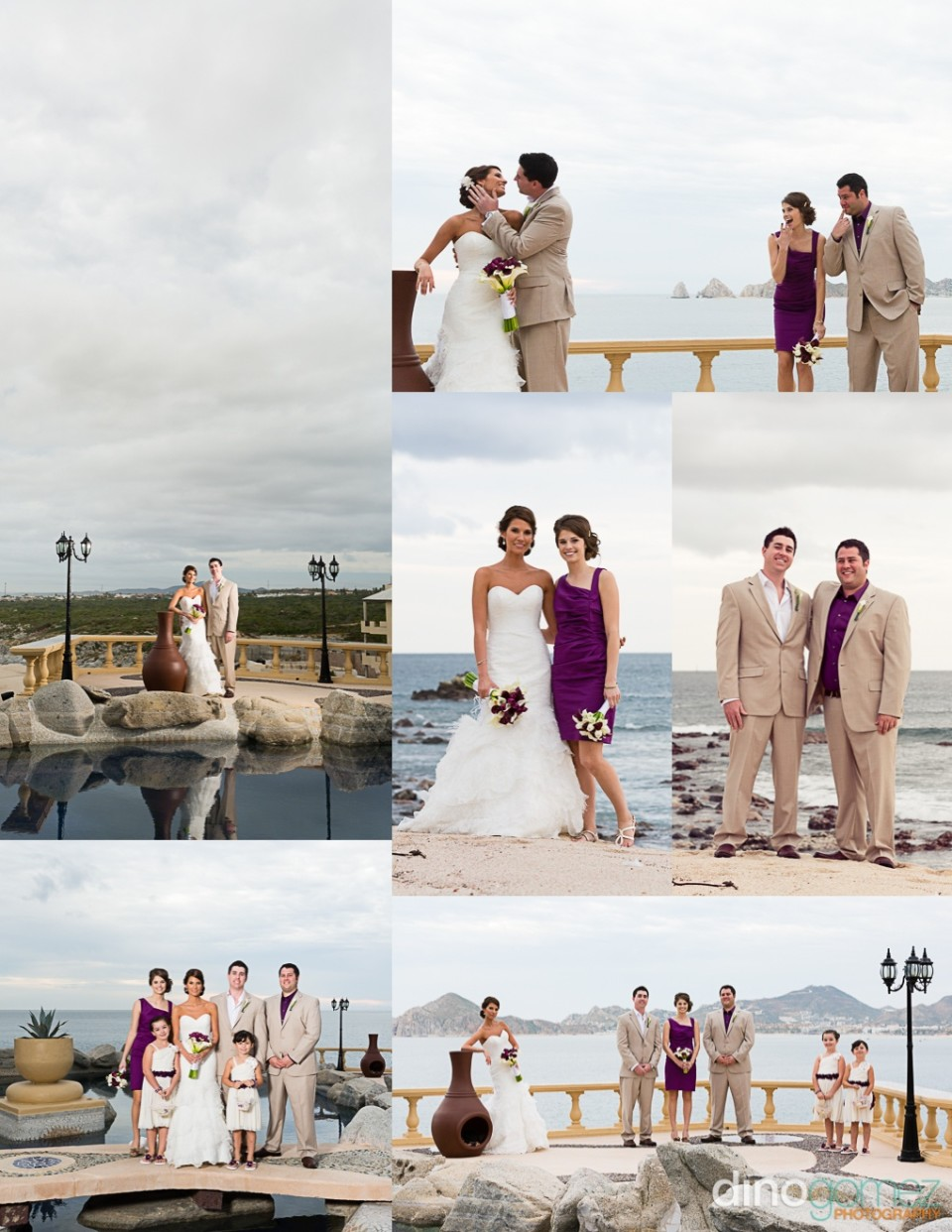 Beautiful pictures of the bride, groom and other members of the wedding party at the beach. Photograph taken by Dino Gomez