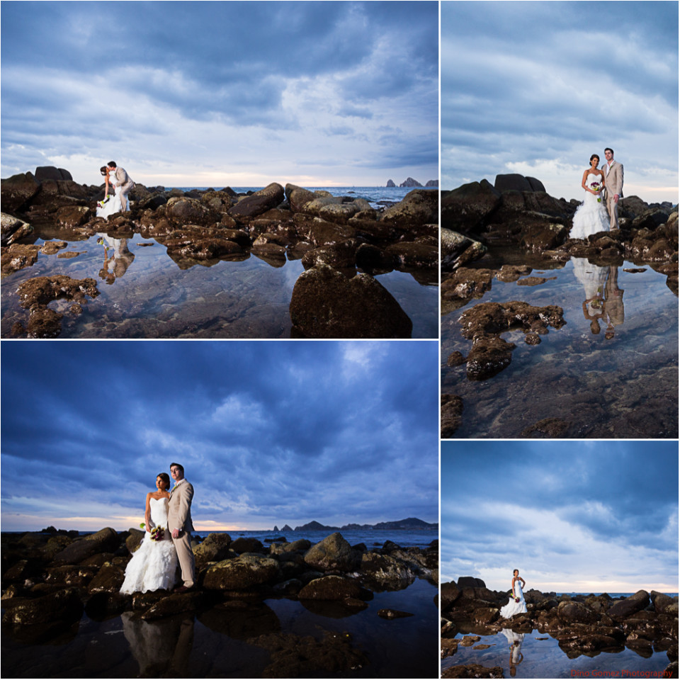 A stunning collection of pictures of a newlywed couple posing on some rocks on a Mexican beach