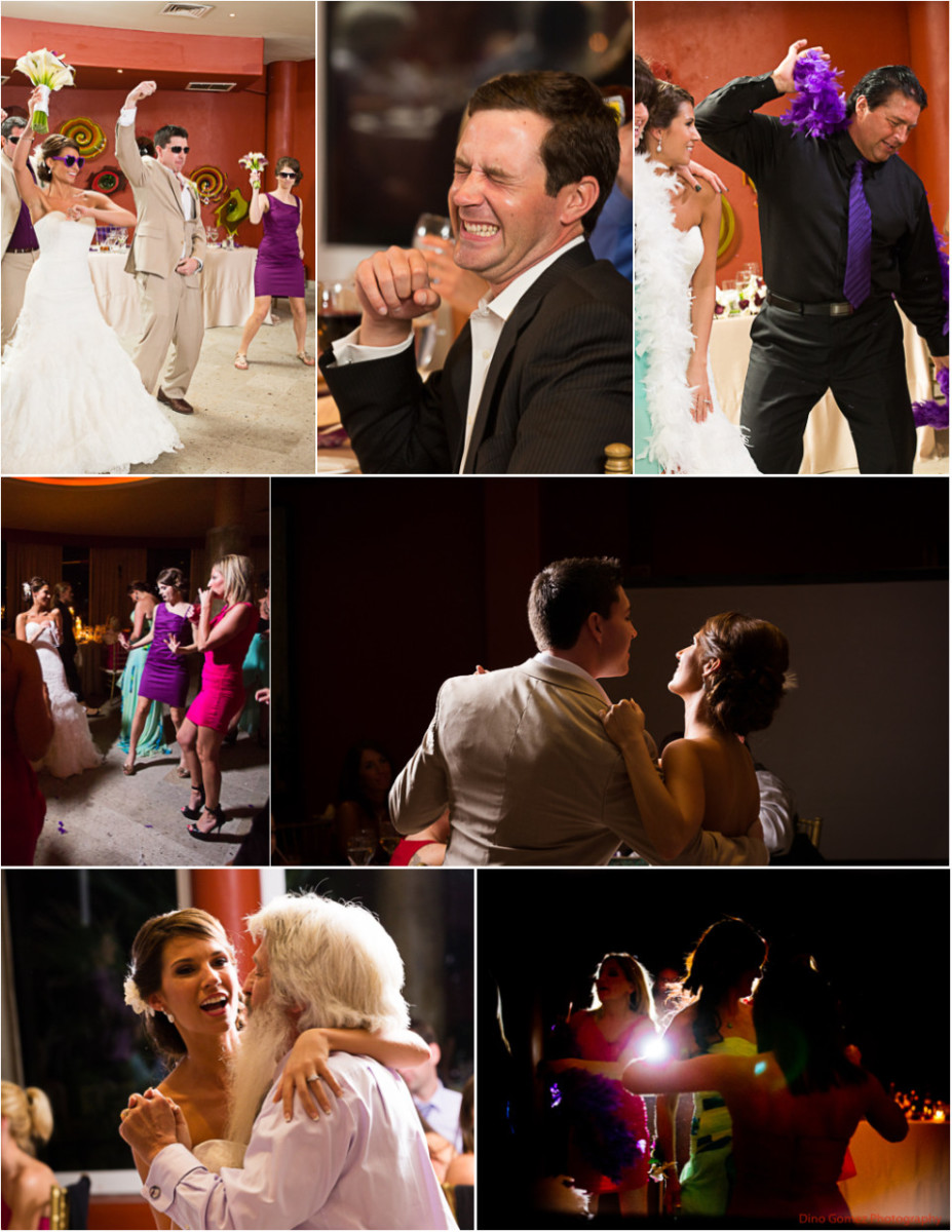 Wedding guests, including the bride and groom, enjoy themselves at the wedding party, taken by Dino Gomez