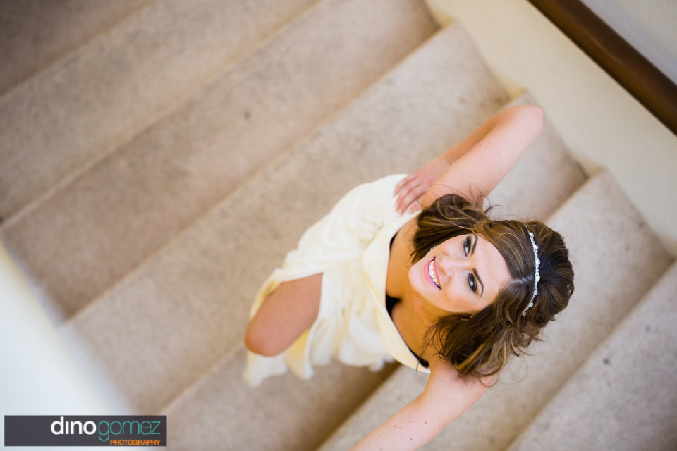 Gorgeous shot of bride on the stairs
