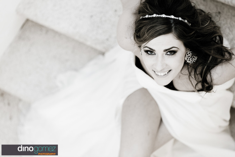 Beautiful shot of the gorgeous bride on her wedding da