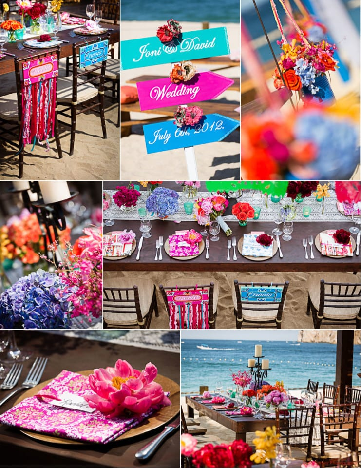 A stunning collection of images showing a bright and vibrant weddings table settings Cabo San Lucas, Mexico