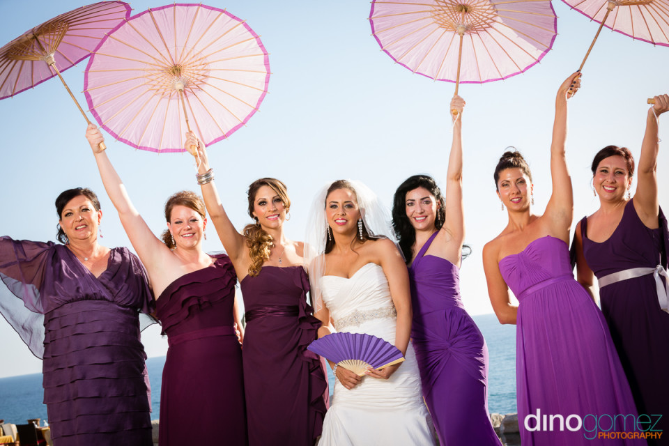 A Cute Shot Of The Bride And Her Mother And Bridesmaids In Mismatched Dresses By Photographers In Monterrey