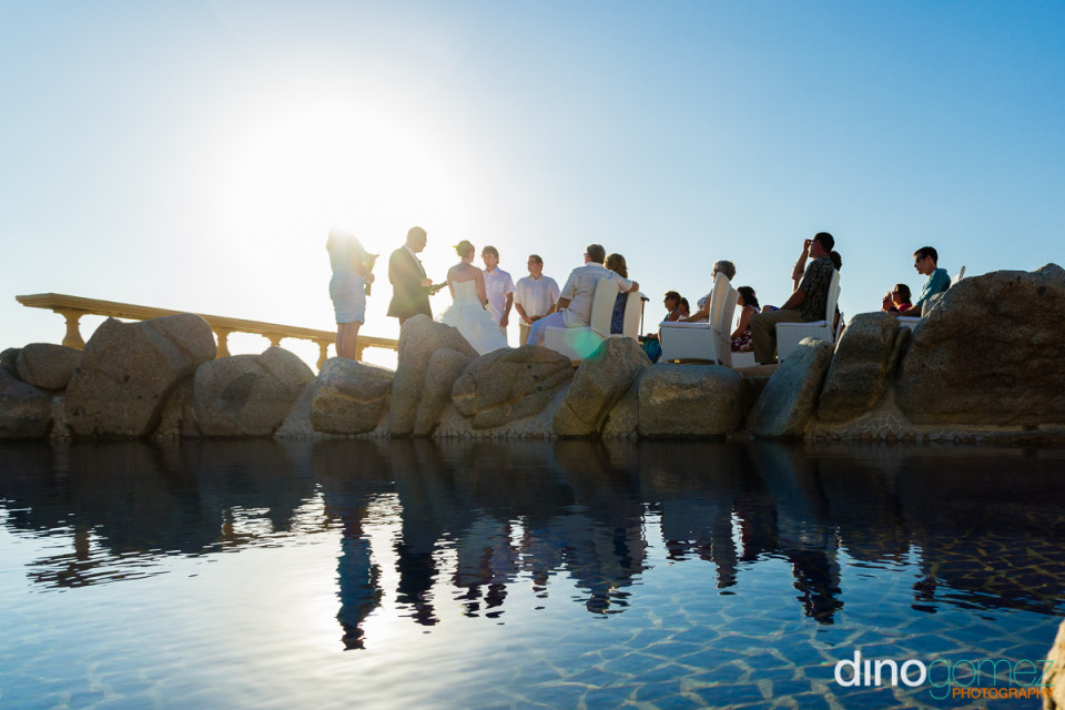Outdoor wedding ceremony shot by destination wedding photographer in Cabo Dino Gomez