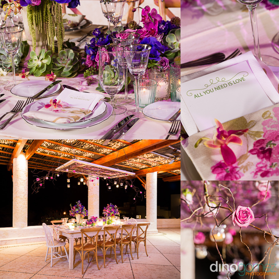 Wedding flowers and table settings presented in an inspiration board by Dino Gomez