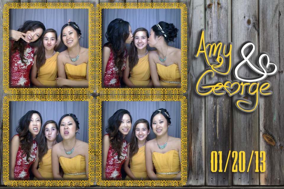 Four pictures of happy and beautiful wedding guests enjoying a photo booth at a wedding.