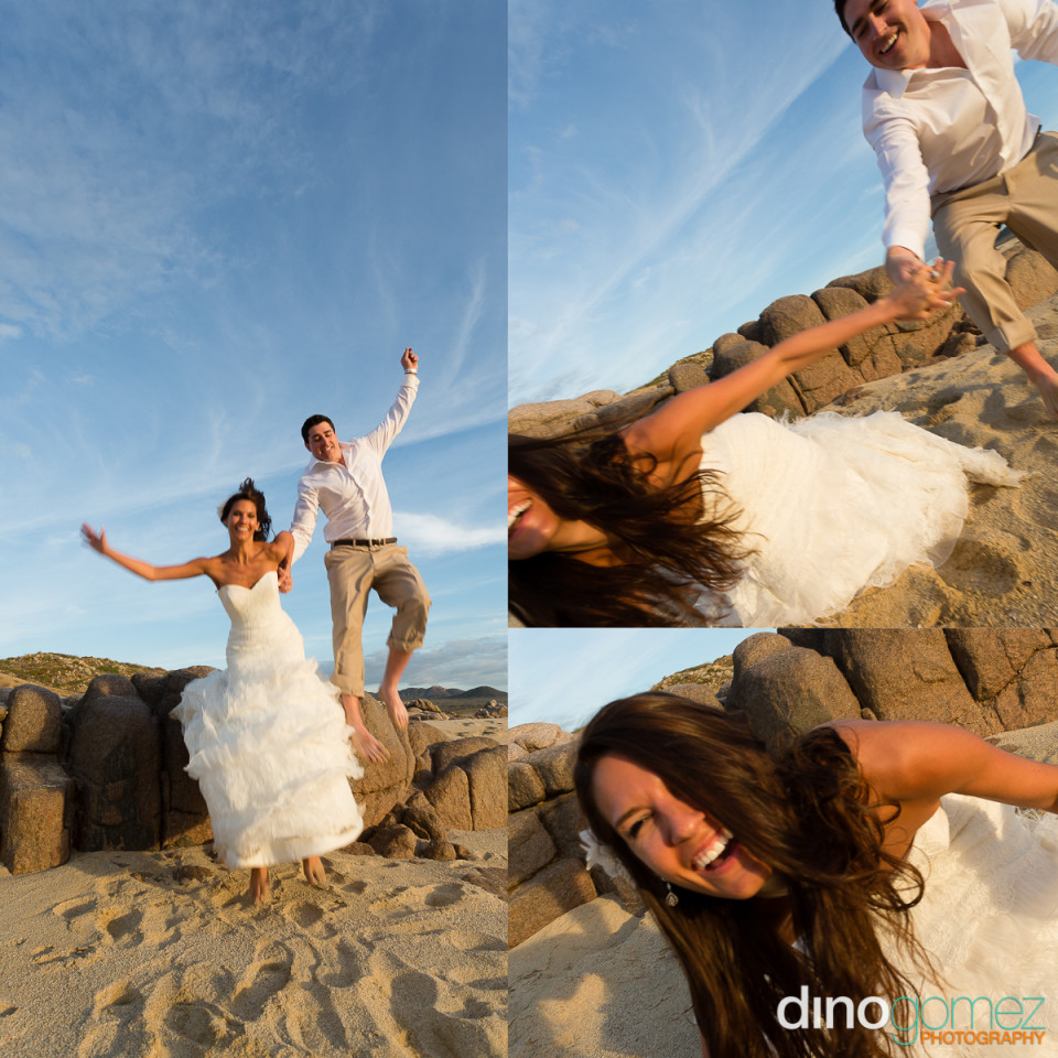 Beautiful shot of the newlyweds having fun on the beach by wedding photographer in Cabo Dino Gomez