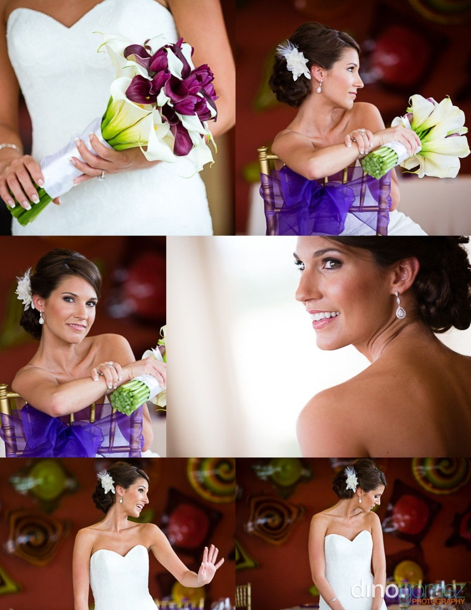 Six shots of a beautiful bride and her purple flowers and accessories taken by Dino Gomez