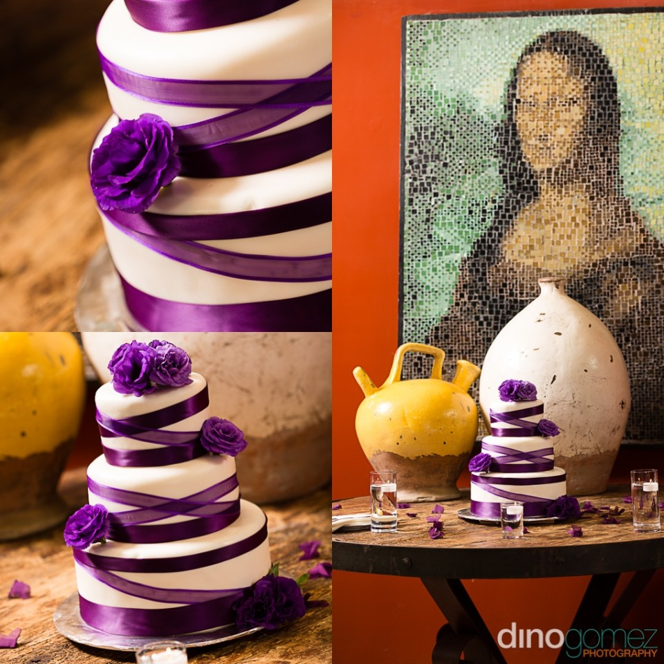 Photographs of a beautiful purple wedding cake by Dino Gomez