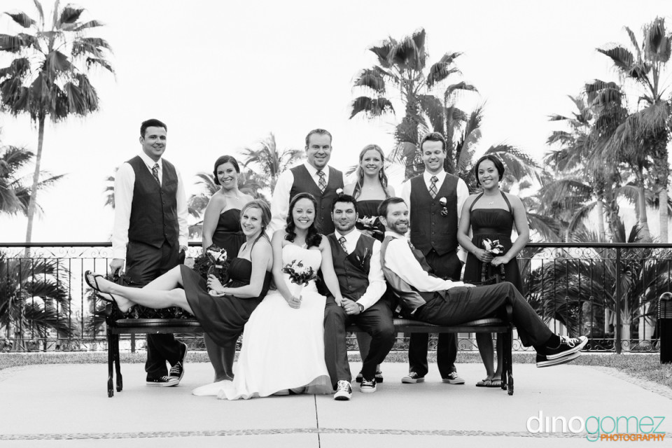 Elegant black and white shot of the wedding party