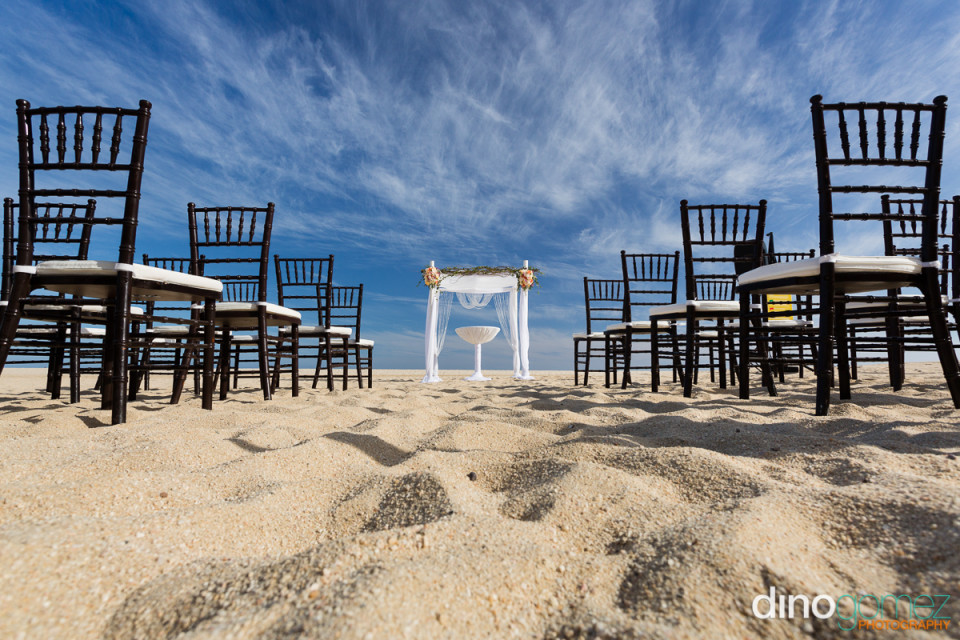 Simple beach wedding setup in Mexico