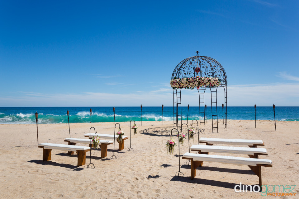 Destination wedding beach setup with the beautiful ocean in the background