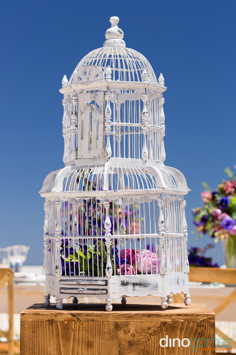 Shabby chic white wedding bird cage