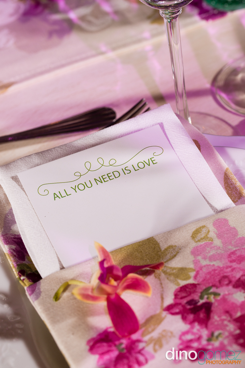 Wedding napkin with menu pocket