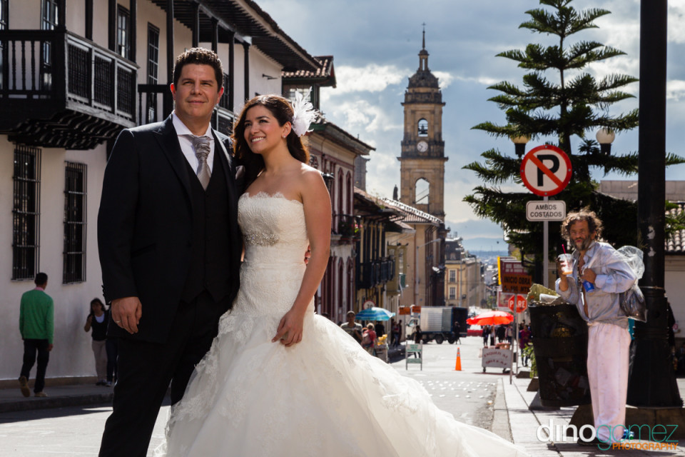 Destination wedding couple posing in the streets