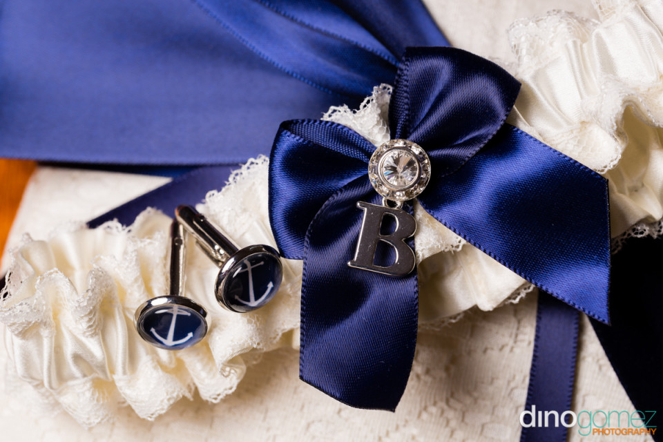 Blue and white wedding garter belt with cuff links