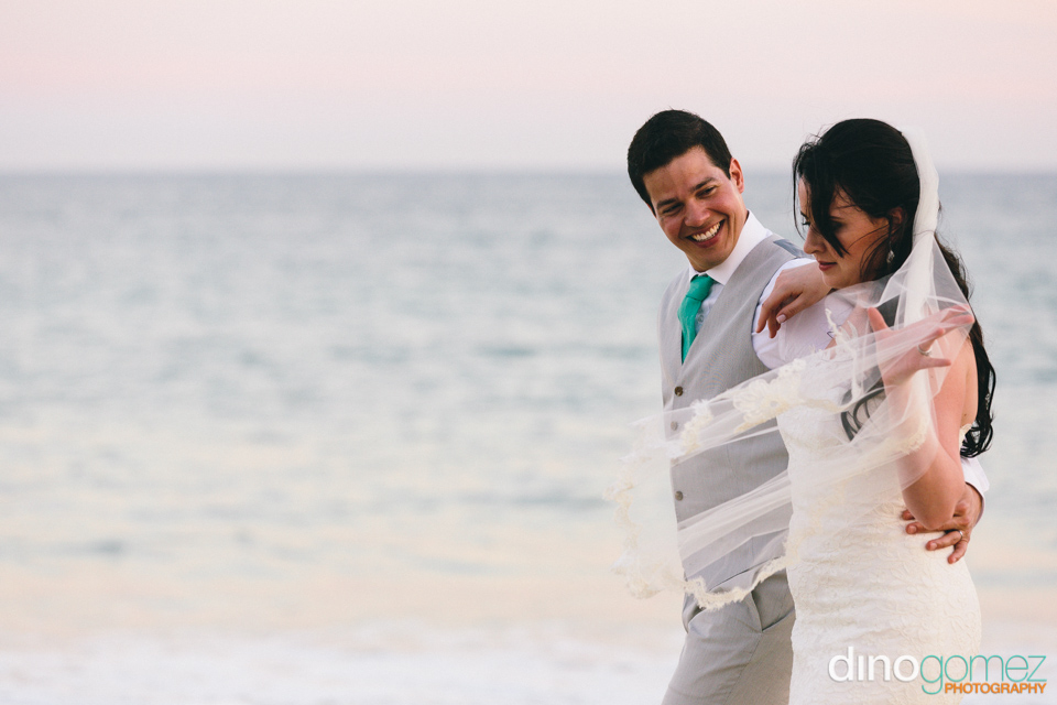 Lovely Wedding Couple At The Sea Side In Los Cabos Mexico