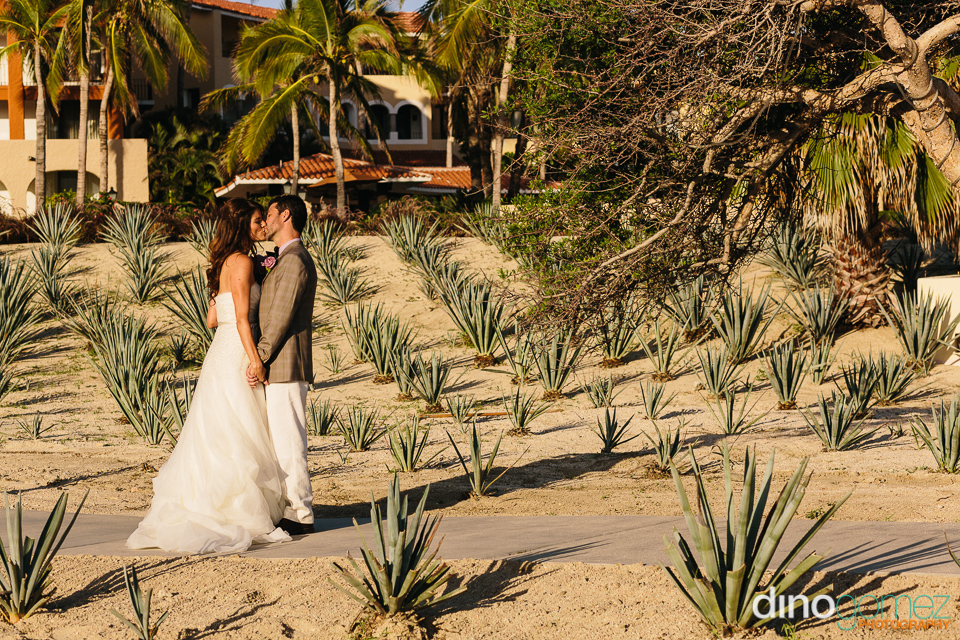 Destination Wedding Couple Kissing On A Pathway In Los Cabos Mexico