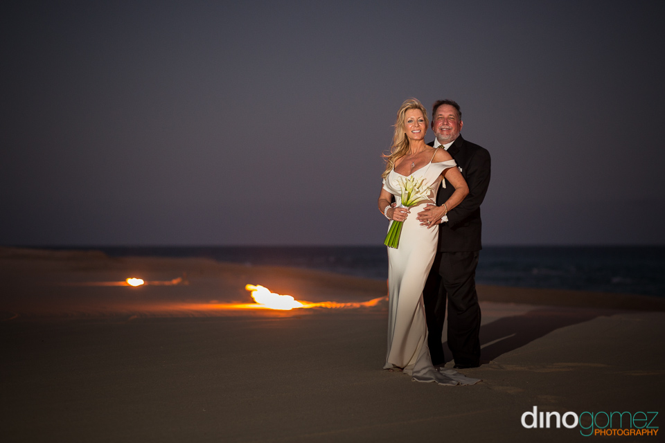 Romantic wedding couple on the beach in Los Cabos