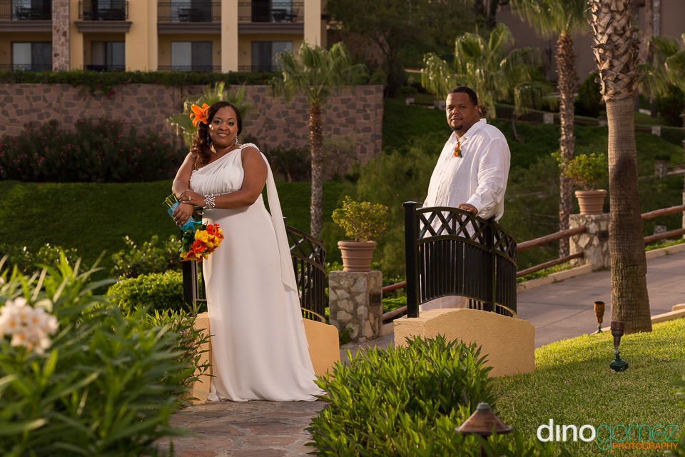 Stunning bride and groom captured by wedding photographer in Cabo Dino Gomez