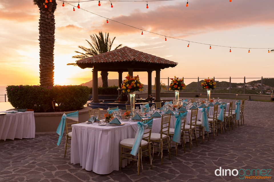 Elegant romantic Los Cabos wedding table decor