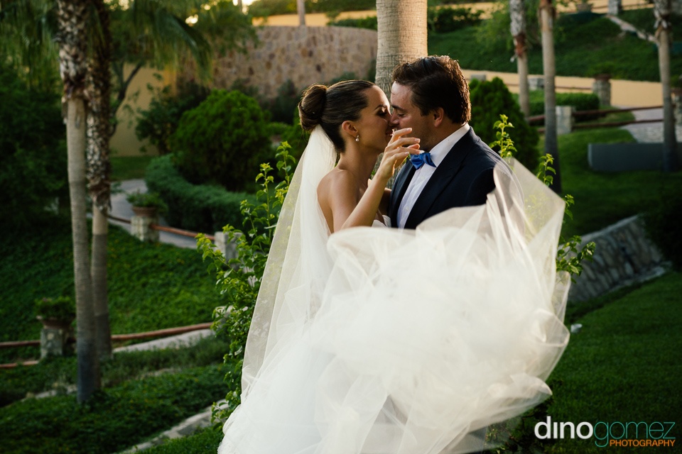 This shot by wedding photographer Dino Gomez captures the intimate moment just before the bride and groom kissed