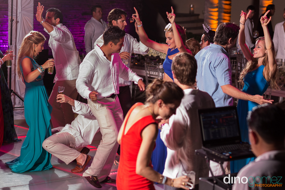 Guests getting down and dirty on the dance floor in Mexico