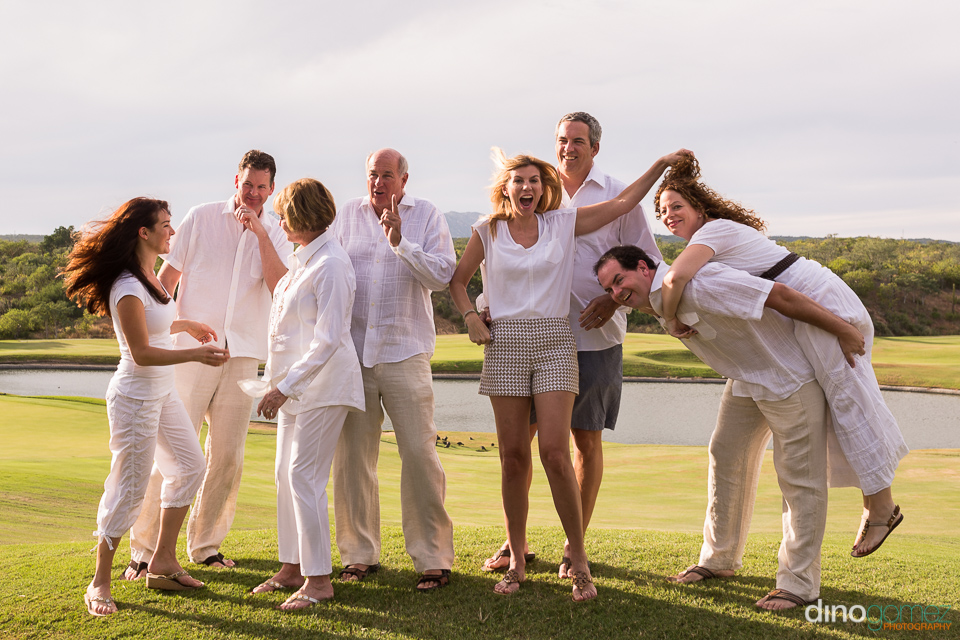 Extended family fun with mom and dad and their children with their spouses